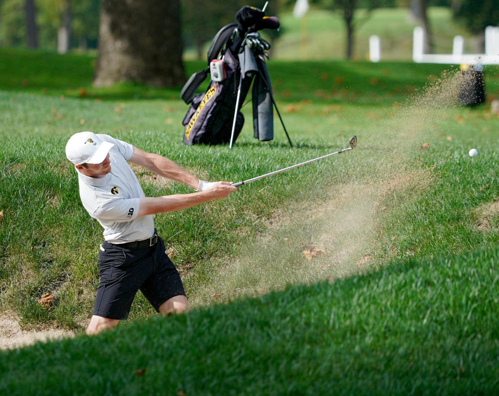 Iowa's Jake Rowe hits from a sand trap during the second day of the Golfweek Conference Challenge at the Cedar Rapids Country Club in Cedar Rapids on Monday, Sep 16, 2019. (Stephen Mally/hawkeyesports.com)