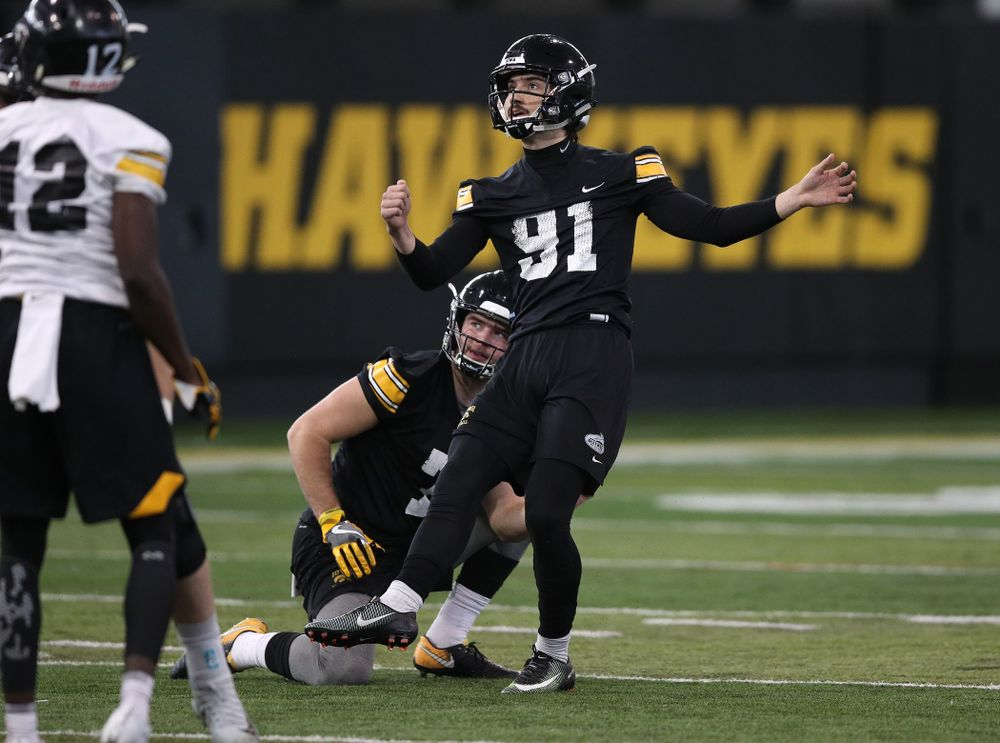 Iowa Hawkeyes place kicker Miguel Recinos (91) and punter Colten Rastetter (7) during preparation for the 2019 Outback Bowl Tuesday, December 18, 2018 at the Hansen Football Performance Center. (Brian Ray/hawkeyesports.com)
