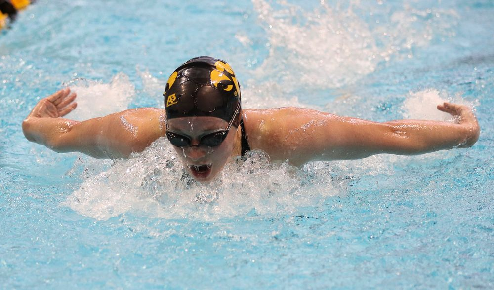 Iowa's Kelsey Drake competes in the 200-yard butterfly during the third day of the Hawkeye Invitational at the Campus Recreation and Wellness Center on November 17, 2018. (Tork Mason/hawkeyesports.com)