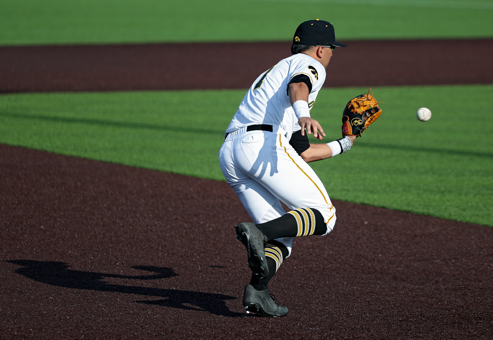Iowa infielder Matthew Sosa (31) throws to first for an out during the ninth inning of their college baseball game at Duane Banks Field in Iowa City on Wednesday, March 11, 2020. (Stephen Mally/hawkeyesports.com)