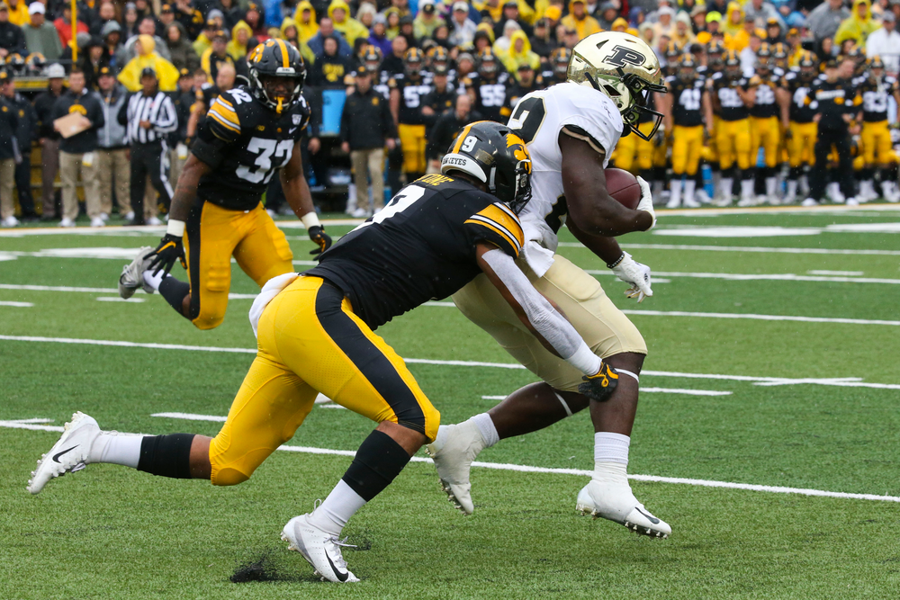 Iowa Hawkeyes defensive back Geno Stone (9) during Iowa football vs Purdue on Saturday, October 19, 2019 at Kinnick Stadium. (Lily Smith/hawkeyesports.com)