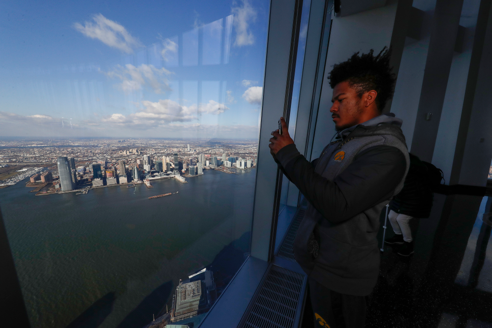 Iowa Hawkeyes running back Ivory Kelly-Martin (21) as the team visits the observation deck of the One World Trade Center and the 9/11 Memorial and Museum.