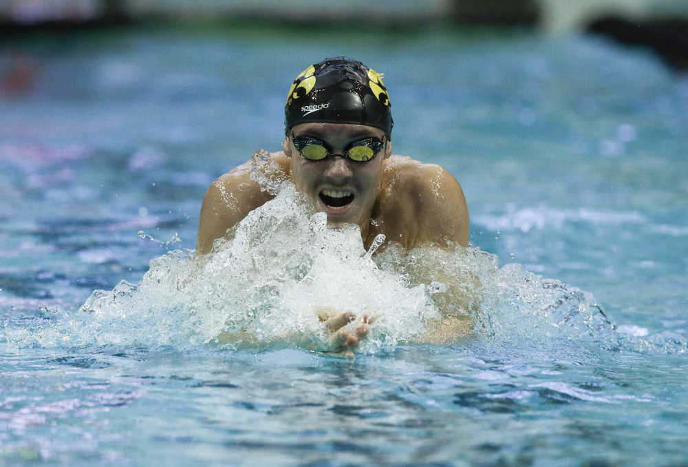 Iowa's Daniel Swanepoel swims the 200 yard Individual Medley Thursday, November 15, 2018 during the 2018 Hawkeye Invitational at the Campus Recreation and Wellness Center. (Brian Ray/hawkeyesports.com)