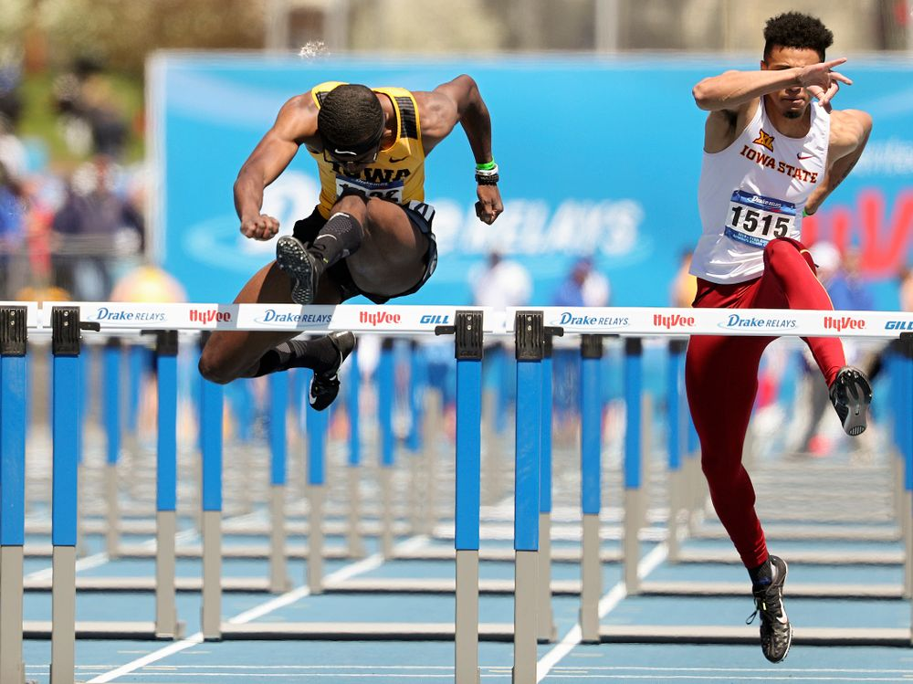 Iowa's Jaylan McConico runs the men's 110 meter hurdles event during the second day of the Drake Relays at Drake Stadium in Des Moines on Friday, Apr. 26, 2019. (Stephen Mally/hawkeyesports.com)