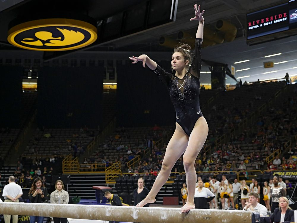 Iowa's Bridget Killian competes on the beam during their meet at Carver-Hawkeye Arena in Iowa City on Sunday, March 8, 2020. (Stephen Mally/hawkeyesports.com)