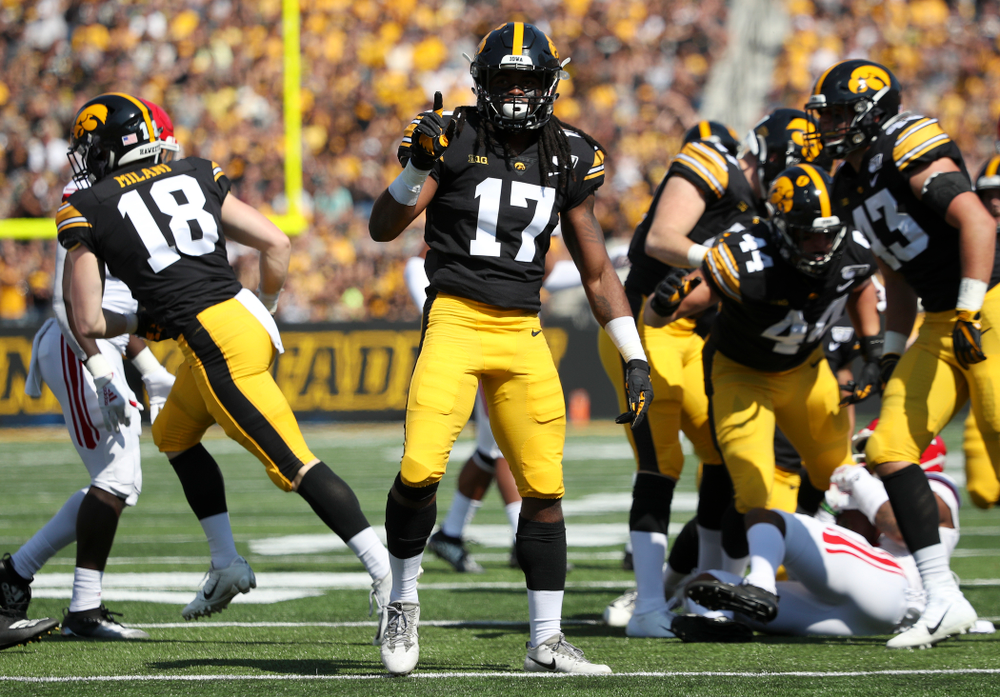 Iowa Hawkeyes defensive back Devonte Young (17) celebrates after making a tackle during the first quarter of their Big Ten Conference football game at Kinnick Stadium in Iowa City on Saturday, Sep 7, 2019. (Stephen Mally/hawkeyesports.com)