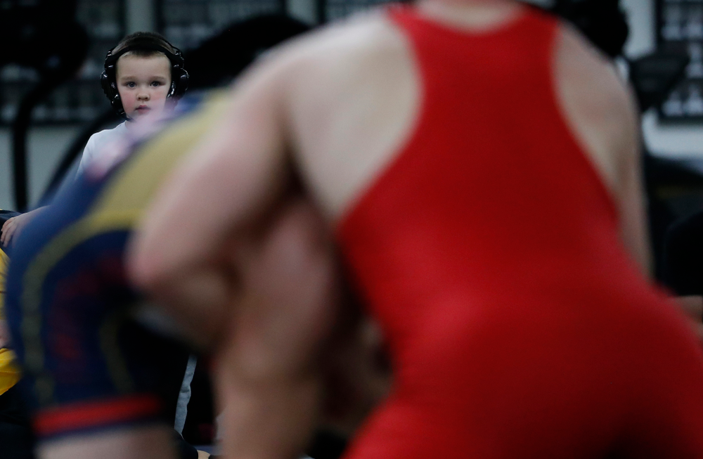 A young Hawkeye wrestling fan is ready to compete.