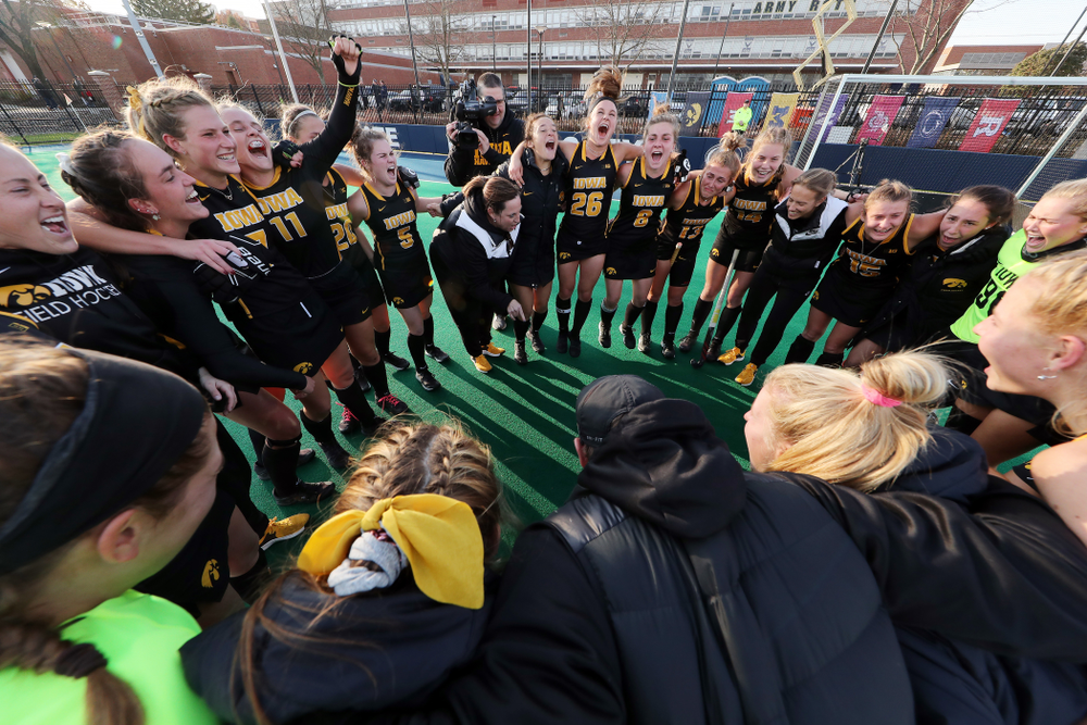 The Iowa Hawkeyes celebrate their 1-0 overtime victory over Penn State to win the 2019 Big Ten Field Hockey Tournament Sunday, November 10, 2019 at Penn State (Brian Ray/hawkeyesports.com)