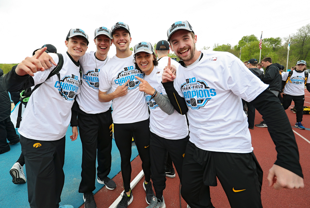 The Hawkeyes celebrate after winning the Men's Big Ten Outdoor Track and Field Championships on the third day of the Big Ten Outdoor Track and Field Championships at Francis X. Cretzmeyer Track in Iowa City on Sunday, May. 12, 2019. (Stephen Mally/hawkeyesports.com)