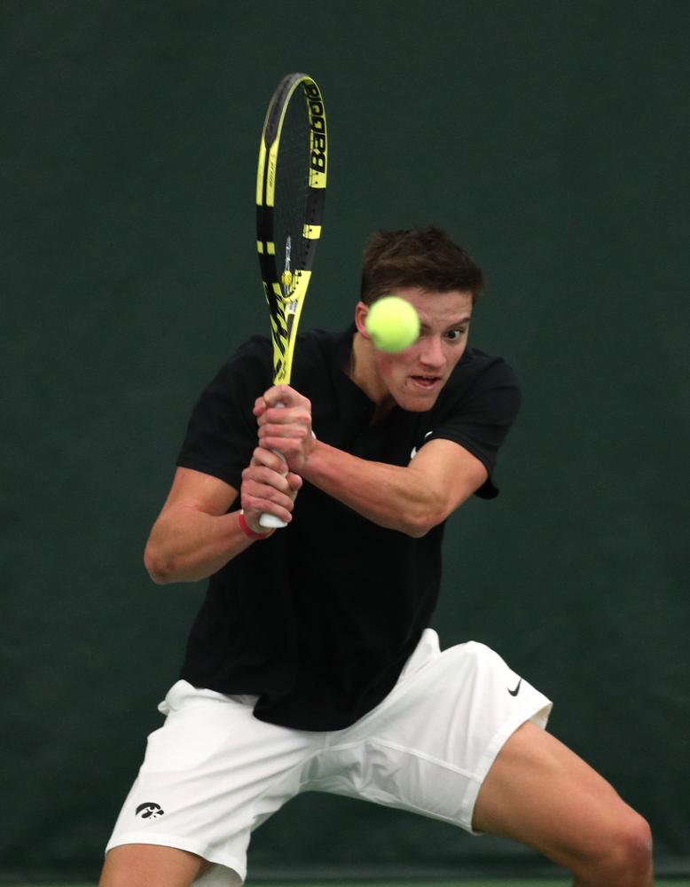 Joe Tyler against Utah Sunday, February 10, 2019 at the Hawkeye Tennis and Recreation Complex. (Brian Ray/hawkeyesports.com)