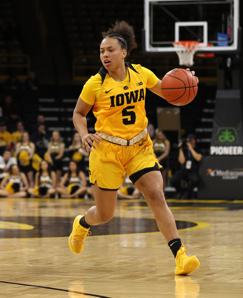 Iowa Hawkeyes guard Alexis Sevillian (5) against the Michigan State Spartans Thursday, February 7, 2019 at Carver-Hawkeye Arena. (Brian Ray/hawkeyesports.com)