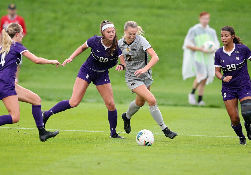 Iowa midfielder Hailey Rydberg (2) tries to gain position on the ball during the first half of their match at the Iowa Soccer Complex in Iowa City on Sunday, Sep 29, 2019. (Stephen Mally/hawkeyesports.com)