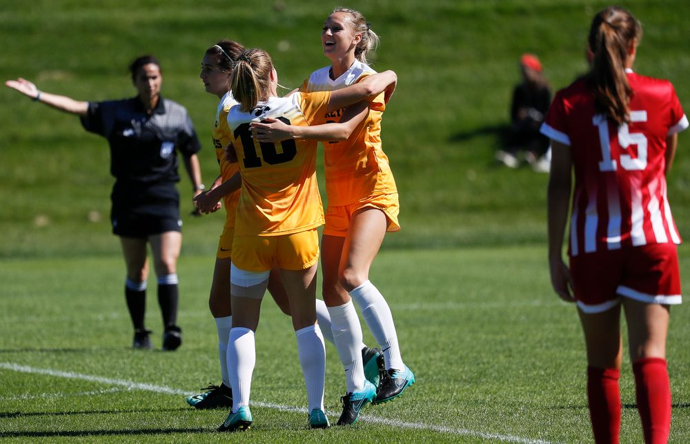 Iowa Hawkeyes midfielder Hailey Rydberg (2) celebrates after scoring a goal during a game against Indiana at the Iowa Soccer Complex on September 23, 2018. (Tork Mason/hawkeyesports.com)
