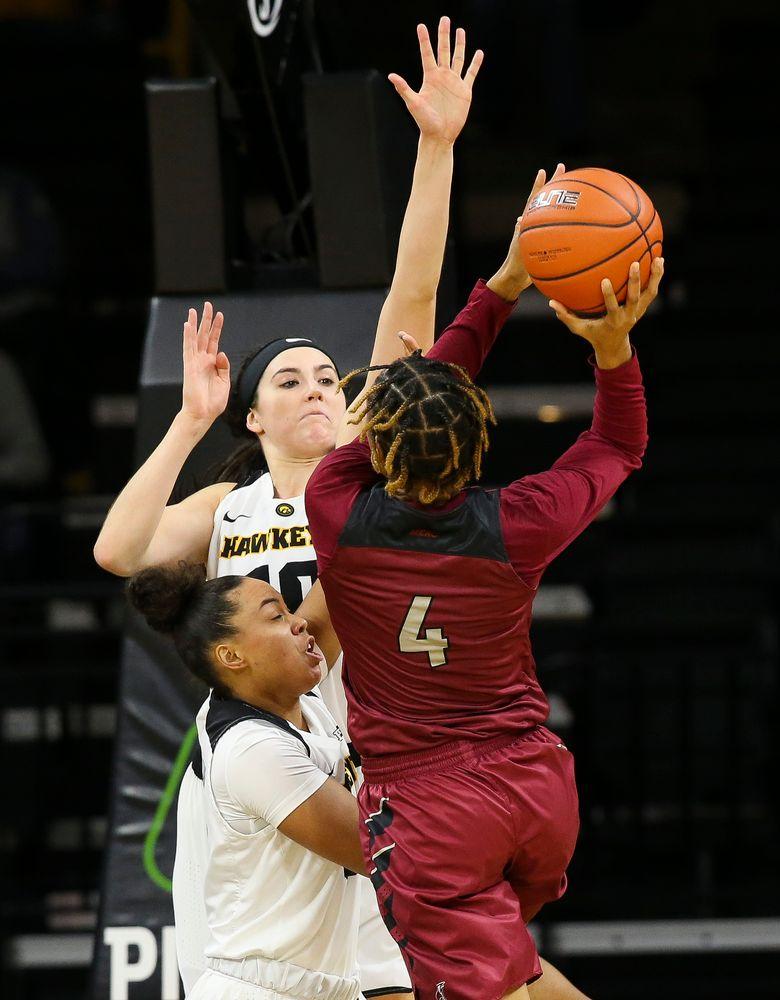 Iowa Hawkeyes forward Megan Gustafson (10) contests a shot during a game against North Carolina Central at Carver-Hawkeye Arena on November 17, 2018. (Tork Mason/hawkeyesports.com)
