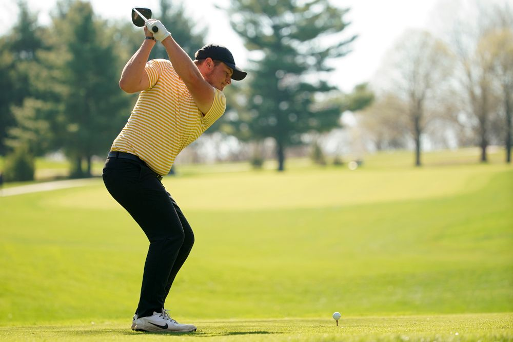 Iowa's Alex Schaake tees off during the third round of the Hawkeye Invitational at Finkbine Golf Course in Iowa City on Sunday, Apr. 21, 2019. (Stephen Mally/hawkeyesports.com)
