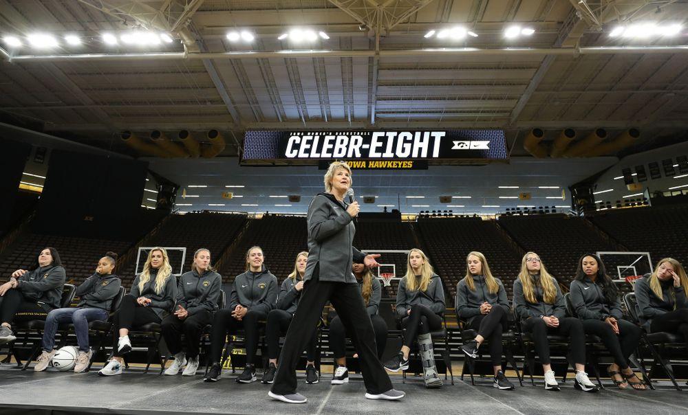 Iowa Hawkeyes head coach Lisa Bluder addressed the crowd during the teamÕs Celebr-Eight event Wednesday, April 24, 2019 at Carver-Hawkeye Arena. (Brian Ray/hawkeyesports.com)