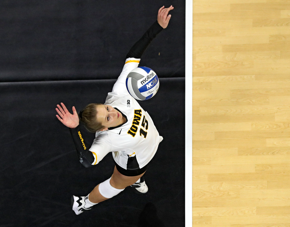 Iowa's Maddie Slagle (15) serves the ball during the third set of their match at Carver-Hawkeye Arena in Iowa City on Saturday, Nov 30, 2019. (Stephen Mally/hawkeyesports.com)