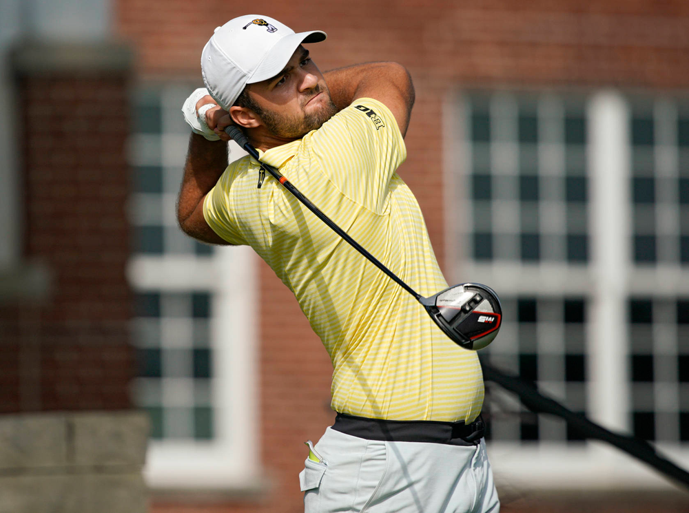 Iowa's Gonzalo Leal tees off during the third day of the Golfweek Conference Challenge at the Cedar Rapids Country Club in Cedar Rapids on Tuesday, Sep 17, 2019. (Stephen Mally/hawkeyesports.com)