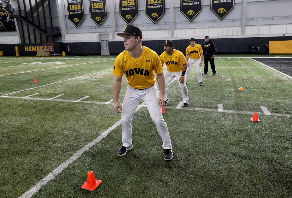 Iowa Hawkeyes outfielder Andrew Nord (10) runs a base running drill during practice Thursday, February 6, 2020 at the Indoor Practice Facility. (Brian Ray/hawkeyesports.com)