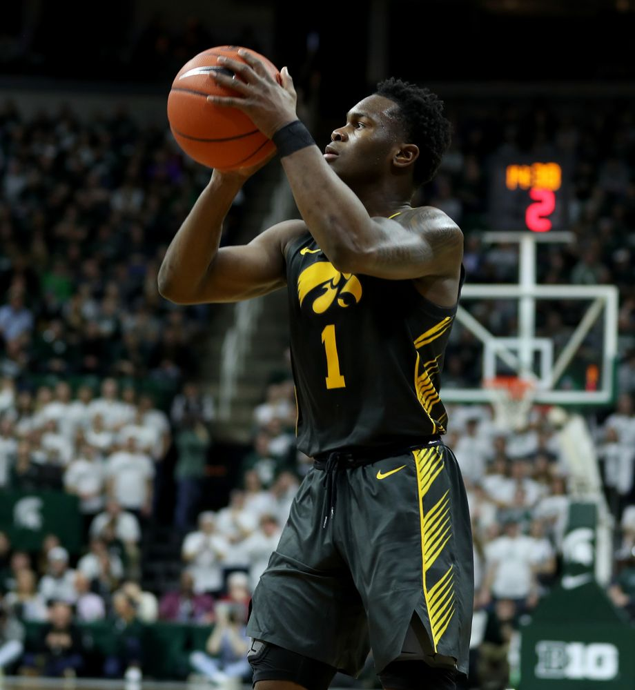 Iowa Hawkeyes guard Joe Toussaint (1) against Michigan State Tuesday, February 25, 2020 at the Breslin Center in East Lansing, MI. (Brian Ray/hawkeyesports.com)