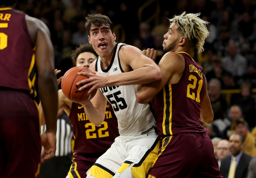 Iowa Hawkeyes forward Luka Garza (55) goes to the hoop against the Minnesota Golden Gophers Monday, December 9, 2019 at Carver-Hawkeye Arena. (Brian Ray/hawkeyesports.com)