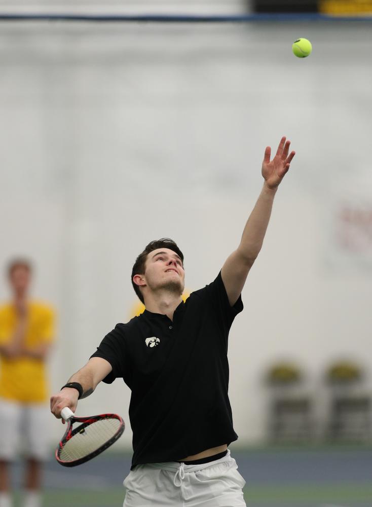 Jonas Larsen against Utah Sunday, February 10, 2019 at the Hawkeye Tennis and Recreation Complex. (Brian Ray/hawkeyesports.com)