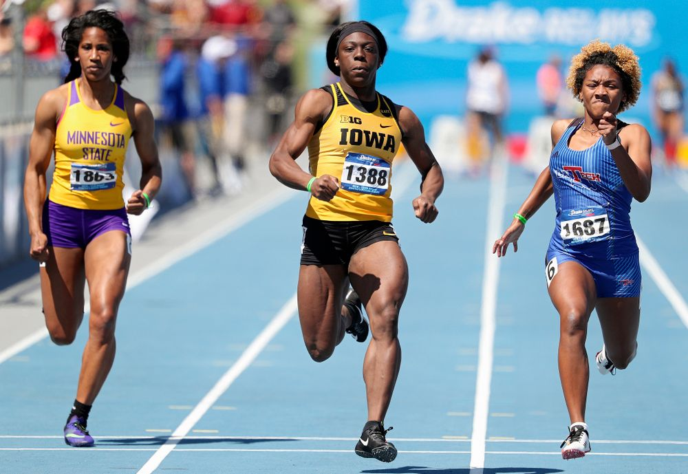 Iowa's Antonise Christian runs the women's 100 meter dash event during the second day of the Drake Relays at Drake Stadium in Des Moines on Friday, Apr. 26, 2019. (Stephen Mally/hawkeyesports.com)