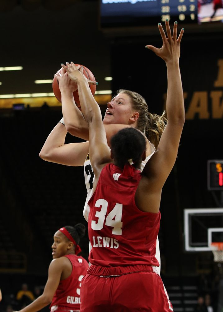 Iowa Hawkeyes forward/center Monika Czinano (25) against the Wisconsin Badgers Monday, January 7, 2019 at Carver-Hawkeye Arena.  (Brian Ray/hawkeyesports.com)