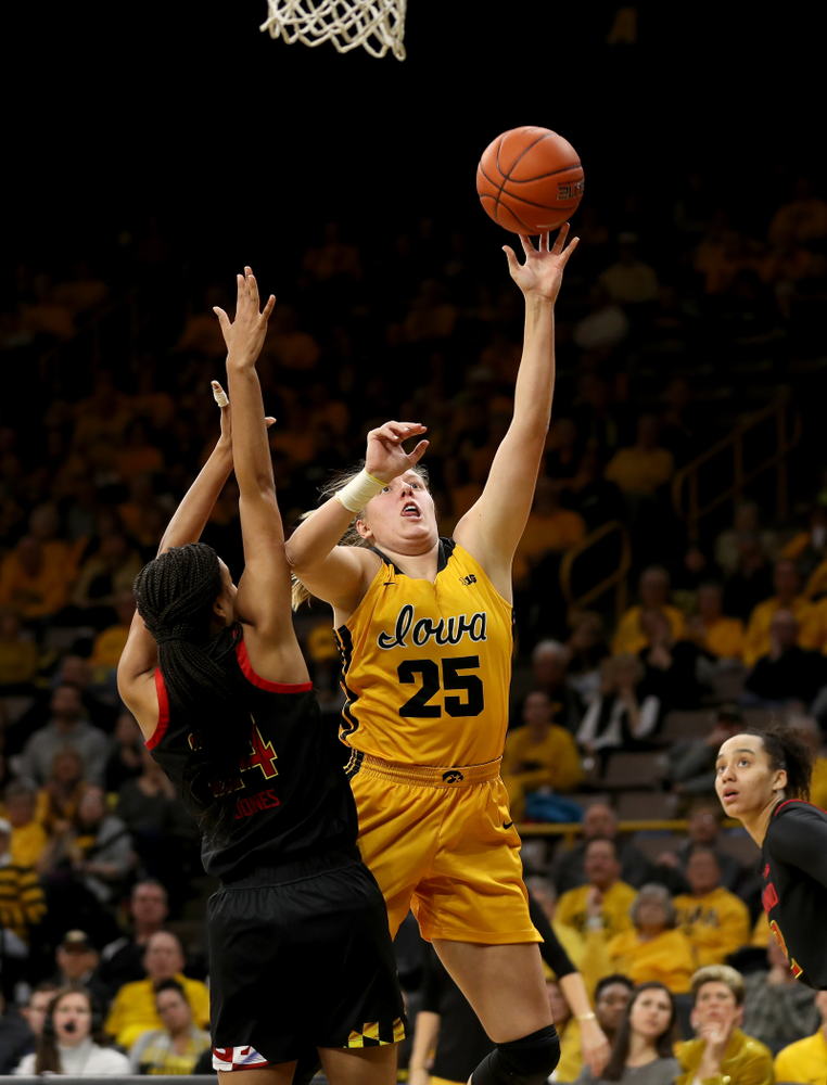 Iowa Hawkeyes forward/center Monika Czinano (25) against the Maryland Terrapins Thursday, January 9, 2020 at Carver-Hawkeye Arena. (Brian Ray/hawkeyesports.com)