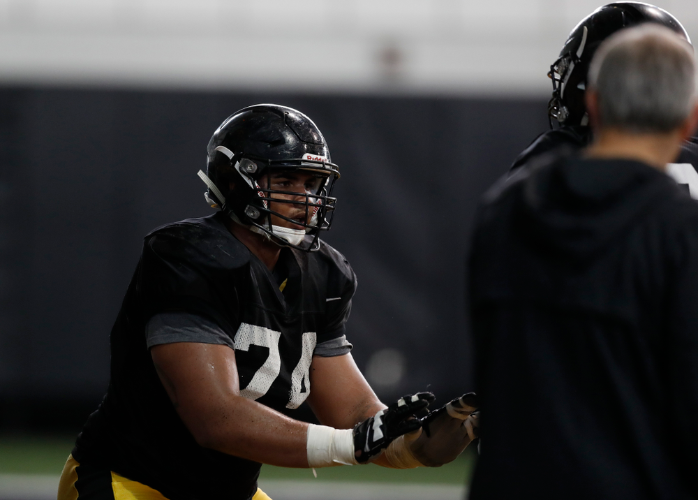 Iowa Hawkeyes offensive lineman Tristan Wirfs (74) during spring practice  Thursday, March 29, 2018 at the Hansen Football Performance Center. (Brian Ray/hawkeyesports.com)