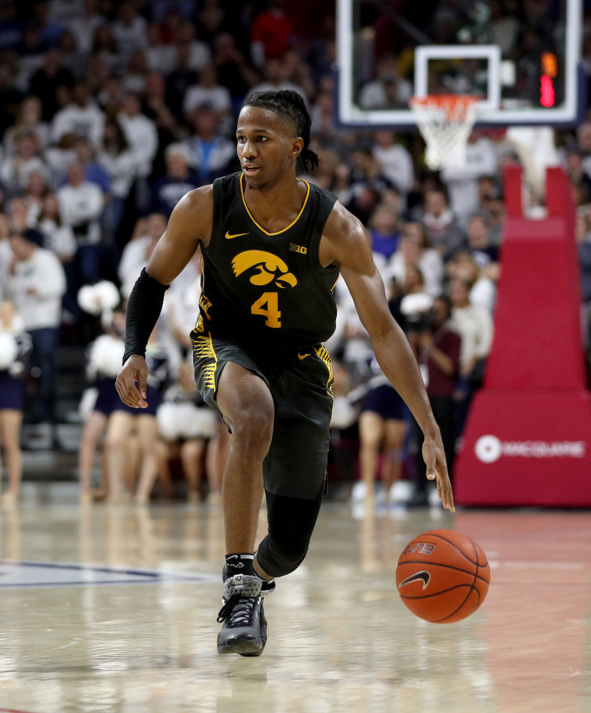 Iowa Hawkeyes guard Bakari Evelyn (4) against Penn State Saturday, January 4, 2020 at the Palestra in Philadelphia. (Brian Ray/hawkeyesports.com)