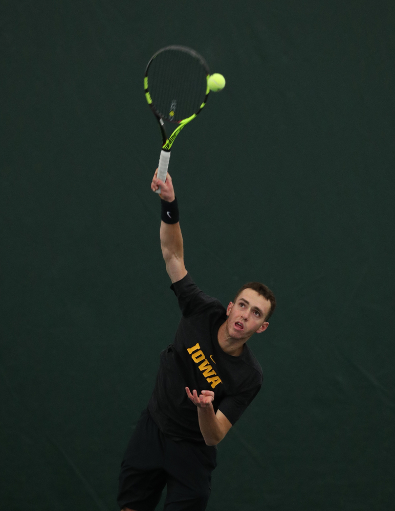 against UMKC Friday, February 15, 2019 at the Hawkeye Tennis and Recreation Complex. (Brian Ray/hawkeyesports.com)