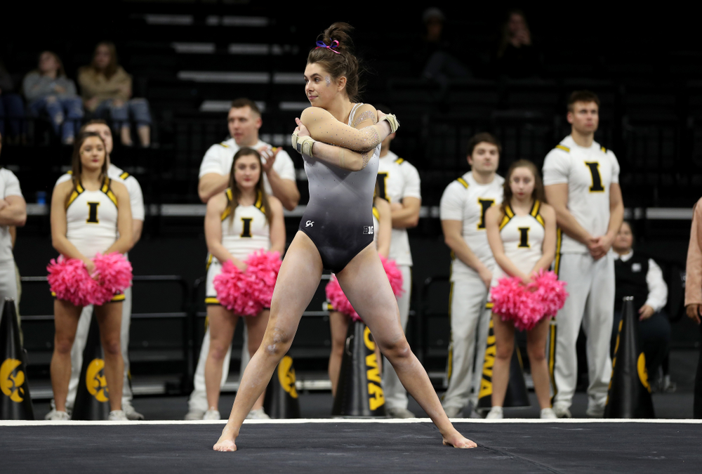 IowaÕs Bridget Killian competes on the floor against Ball State and Air Force Saturday, January 11, 2020 at Carver-Hawkeye Arena. (Brian Ray/hawkeyesports.com)