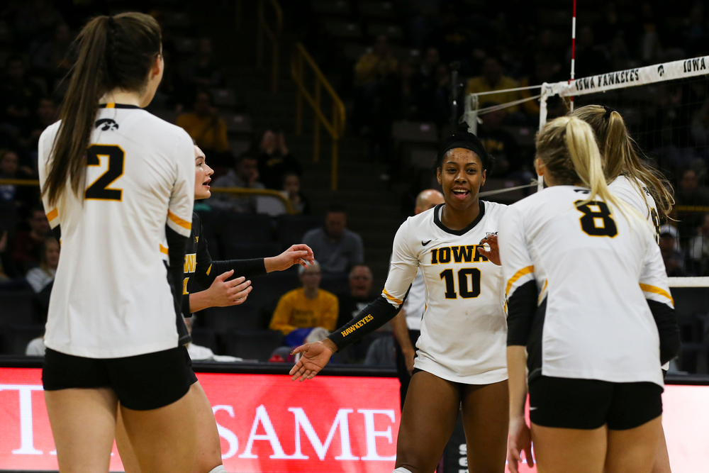 Iowa Hawkeyes outside hitter Griere Hughes (10) during Iowa volleyball vs Maryland on Saturday, November 30, 2019 at Carver-Hawkeye Arena. (Lily Smith/hawkeyesports.com)