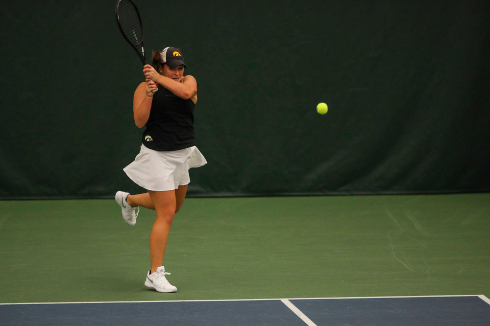 IowaÕs Danielle Bauers at womenÕs tennis senior day vs Nebraska on Saturday, April 13, 2019 at the Hawkeye Tennis and Recreation Complex. (Lily Smith/hawkeyesports.com)