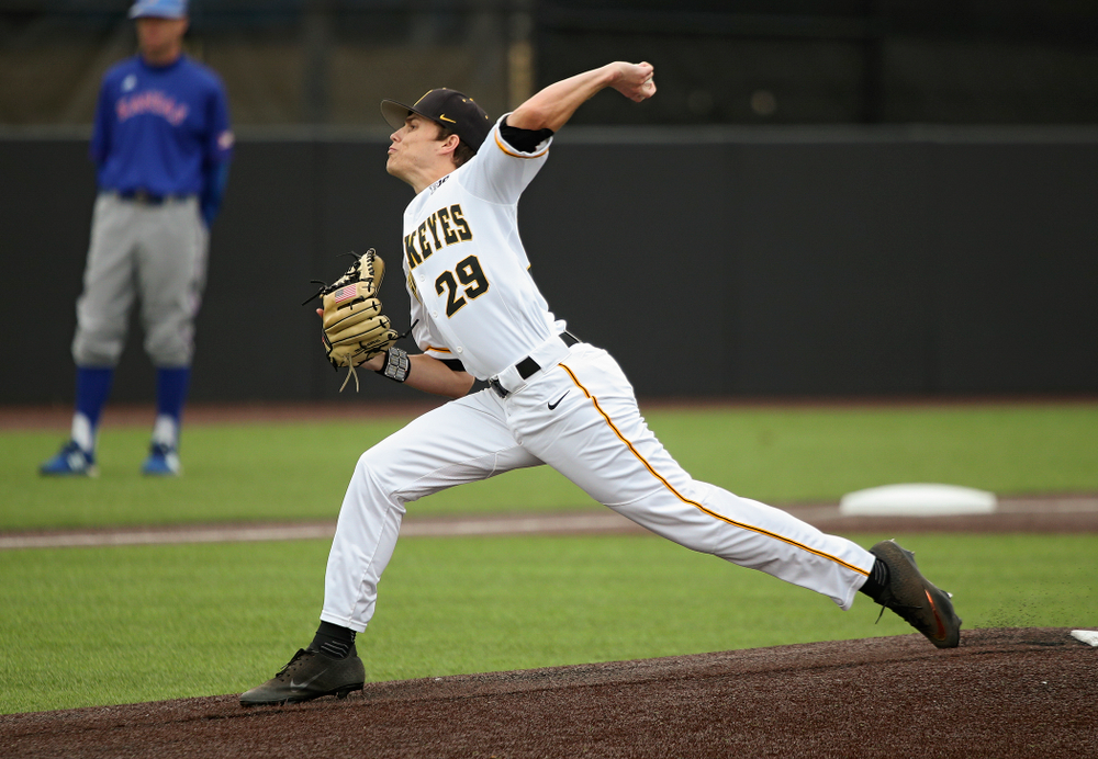 Iowa pitcher Ben Beutel (29) delivers to the plate during the first inning of their college baseball game at Duane Banks Field in Iowa City on Wednesday, March 11, 2020. (Stephen Mally/hawkeyesports.com)