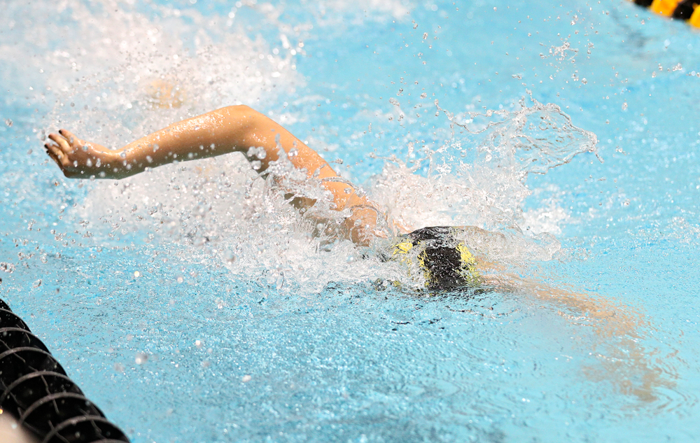 Iowa's Hannah Burvill swims the freestyle section of the women's 400 yard medley relay event during the 2020 Women's Big Ten Swimming and Diving Championships at the Campus Recreation and Wellness Center in Iowa City on Thursday, February 20, 2020. (Stephen Mally/hawkeyesports.com)