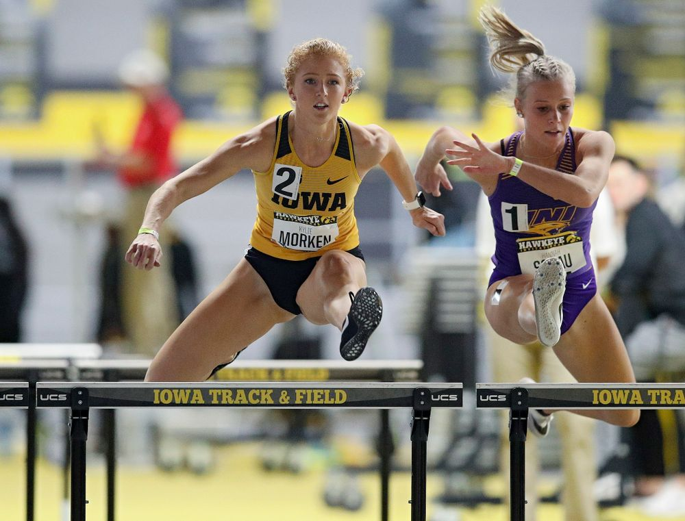 Iowa's Kylie Morken runs the women's 60 meter hurdles event during the Hawkeye Invitational at the Recreation Building in Iowa City on Saturday, January 11, 2020. (Stephen Mally/hawkeyesports.com)