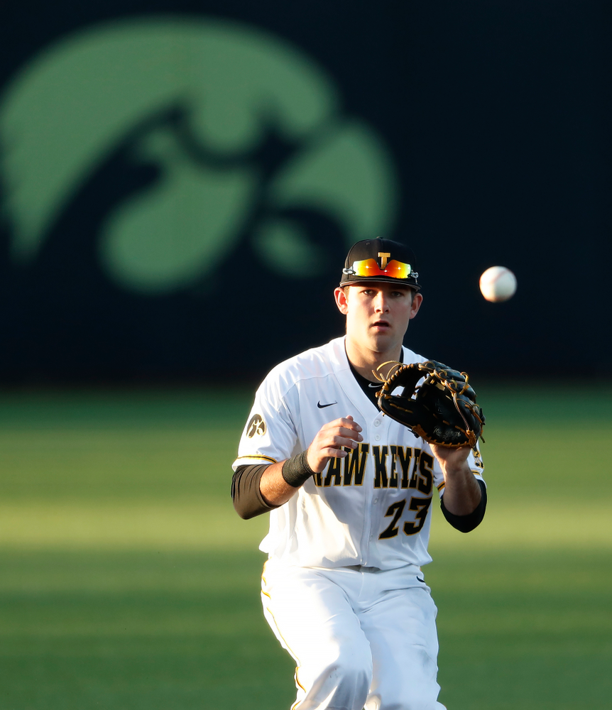 against the Michigan Wolverines Friday, April 27, 2018 at Duane Banks Field in Iowa City. (Brian Ray/hawkeyesports.com)