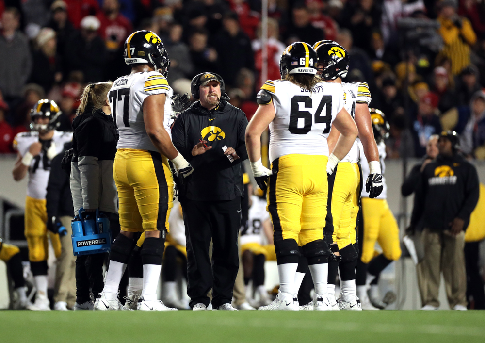 Iowa Hawkeyes offensive line coach Tim Polasek  against the Wisconsin Badgers Saturday, November 9, 2019 at Camp Randall Stadium in Madison, Wisc. (Brian Ray/hawkeyesports.com)