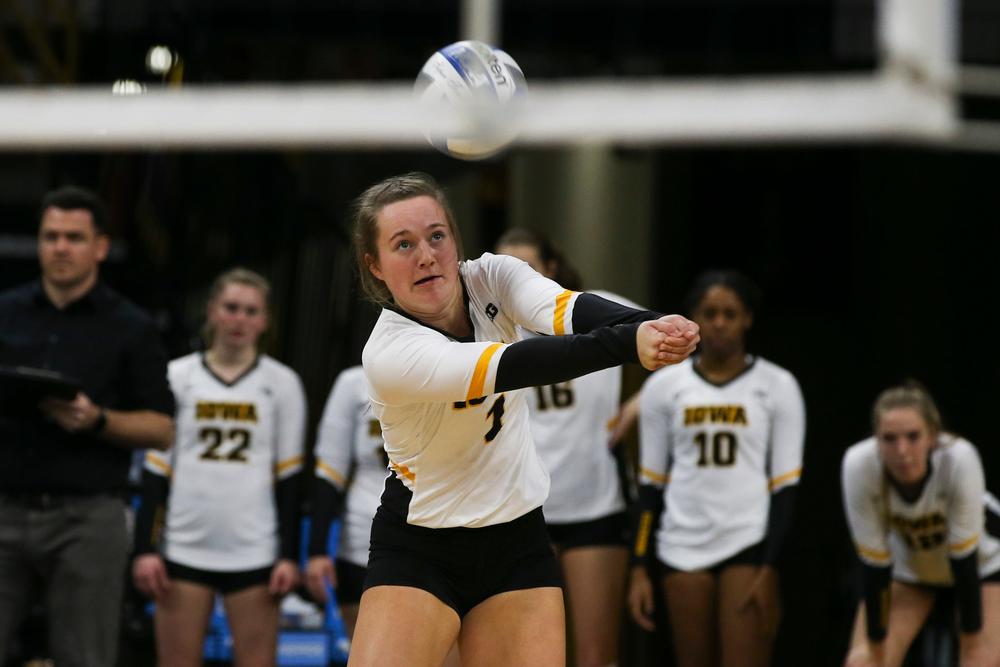 Iowa Hawkeyes defensive specialist Joslyn Boyer (1) during Iowa volleyball vs Maryland on Saturday, November 30, 2019 at Carver-Hawkeye Arena. (Lily Smith/hawkeyesports.com)