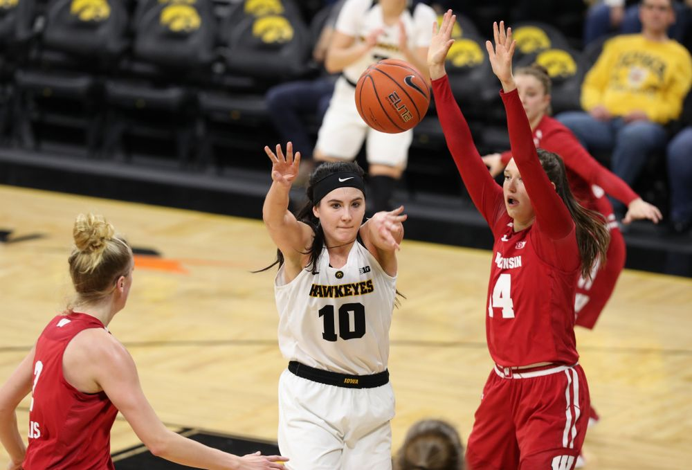 Iowa Hawkeyes forward Megan Gustafson (10) against the Wisconsin Badgers Monday, January 7, 2019 at Carver-Hawkeye Arena.  (Brian Ray/hawkeyesports.com)