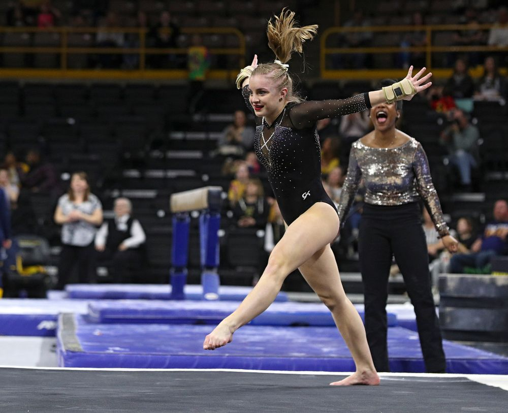 Iowa's Lauren Guerin competes on the floor during their meet at Carver-Hawkeye Arena in Iowa City on Sunday, March 8, 2020. (Stephen Mally/hawkeyesports.com)