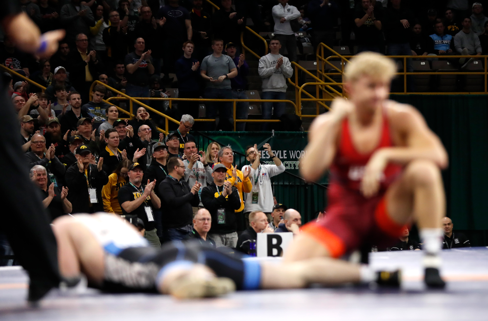Kyle Dake during session three of the United World Wrestling Freestyle World Cup Sunday, April 8, 2018 at Caver-Hawkeye Arena. (Brian Ray/hawkeyesports.com)