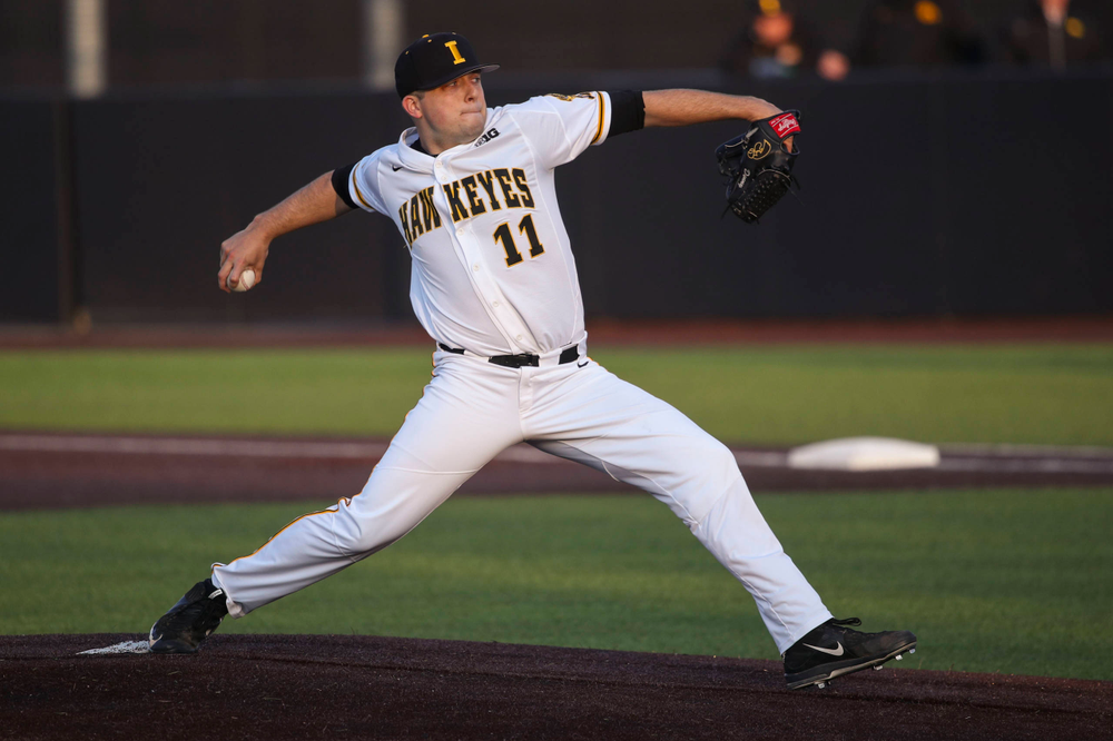 Iowa pitcher Cole McDonald  at game 1 vs Rutgers on Friday, April 5, 2019 at Duane Banks Field. (Lily Smith/hawkeyesports.com)