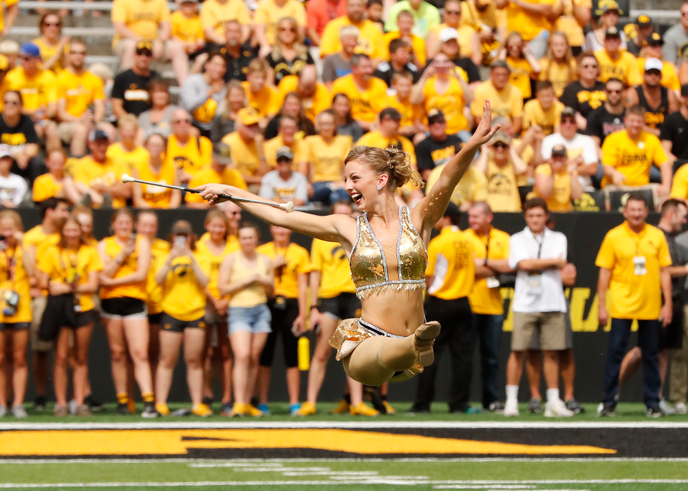 Hawkeye Marching Band Golden Girl ?Kylene Spanbauer gets ready for her performance against the Northern Illinois Huskies Saturday, September 1, 2018 at Kinnick Stadium. (Brian Ray/hawkeyesports.com)