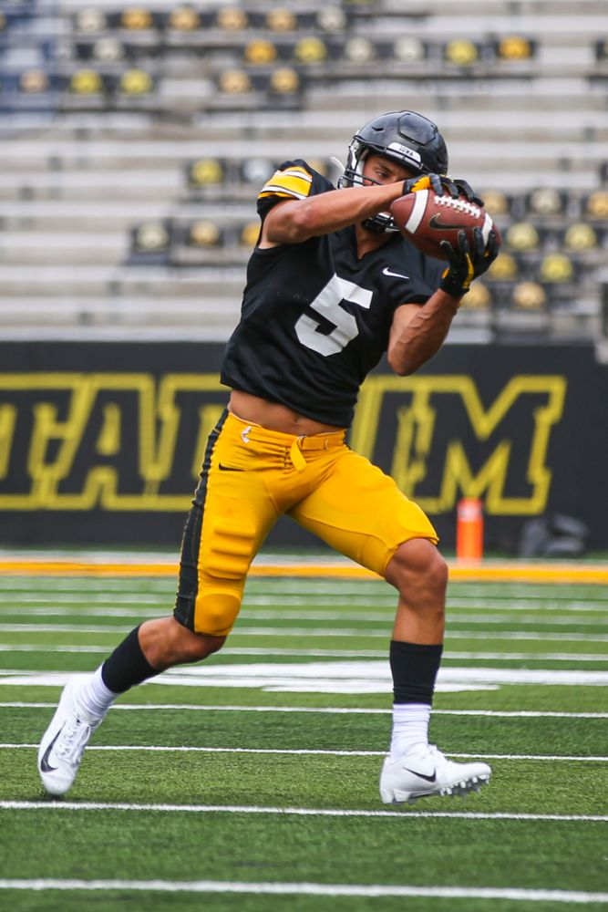 Iowa Hawkeyes wide receiver Oliver Martin (5) during Kids Day at Kinnick Stadium on Saturday, August 10, 2019. (Lily Smith/hawkeyesports.com)