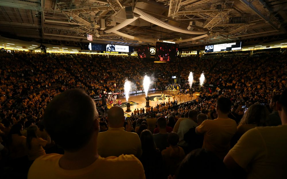 Starting lineups are introduced before a game against Wisconsin on November 30, 2018, at Carver-Hawkeye Arena. (Tork Mason/hawkeyesports.com)