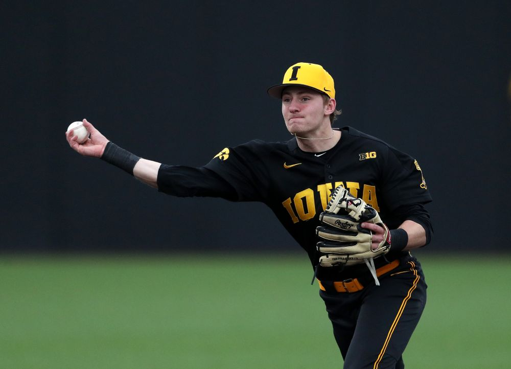 Iowa Hawkeyes infielder Brendan Sher (2) against Simpson College Tuesday, March 19, 2019 at Duane Banks Field. (Brian Ray/hawkeyesports.com)