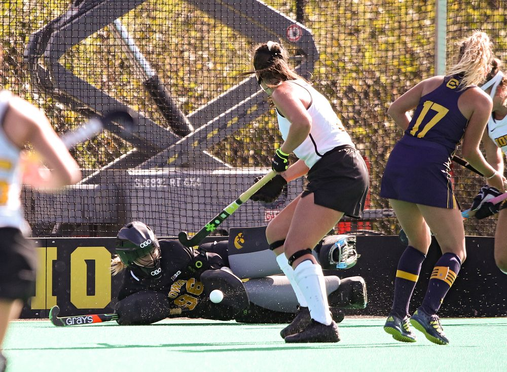 Iowa's Leslie Speight (96) blocks a shot during the third quarter of their game at Grant Field in Iowa City on Friday, Sep 13, 2019. (Stephen Mally/hawkeyesports.com)
